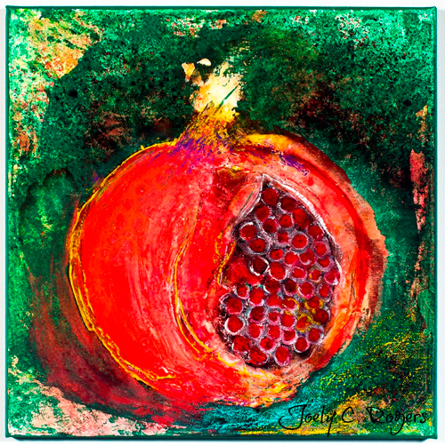 acrylic painting of a pomegranate